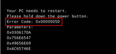error code 0x0000005d