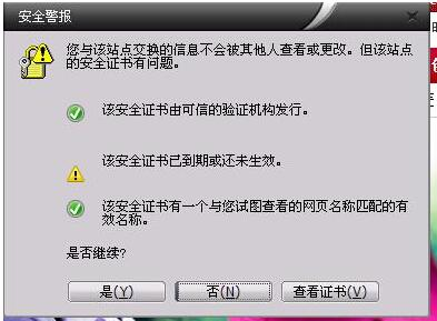 安全证书安全警报