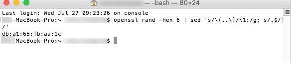 命令:openssl rand -hex 6 | sed 's/\(..\)/\1:/g; s/.$//'