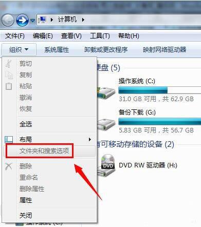 文件夹和搜索选项 - 灰色 - 不能点