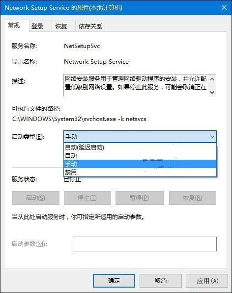 Network Setup Service 的属性(本地计算机)