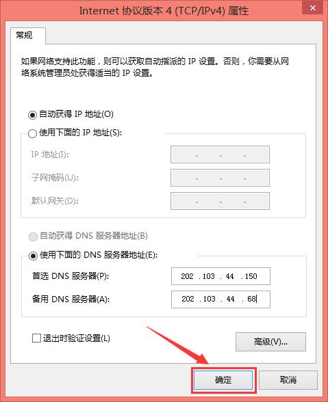 使用下面的DNS服务器地址