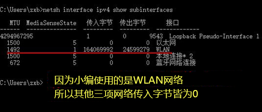 netsh interface ipv4 show subinterfaces