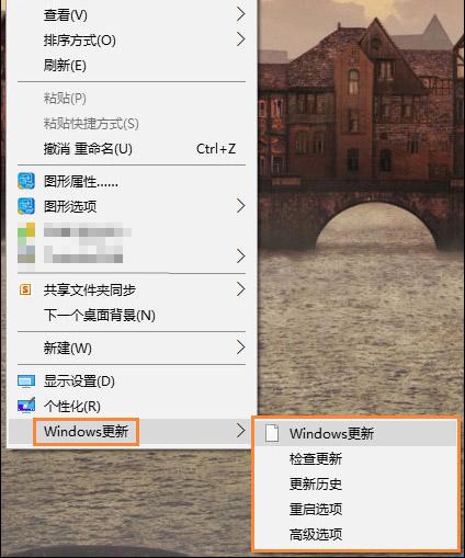 Windows 更新菜单项
