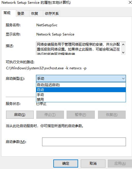 Network Setup Service 的属性