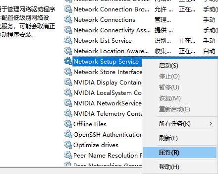 Network Setup Service属性