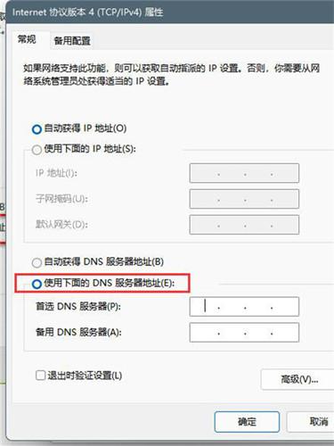 使用下面的 DNS 服务器地址(E)